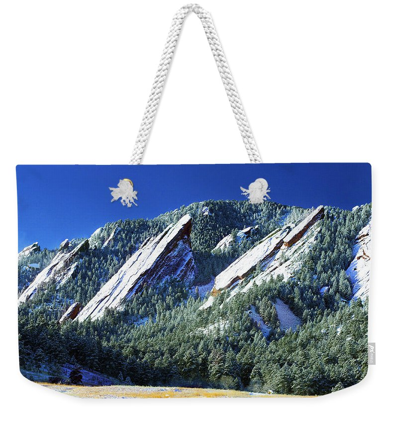 Colorado Weekender Tote Bag featuring the photograph All Five Colorado Flatirons by Marilyn Hunt