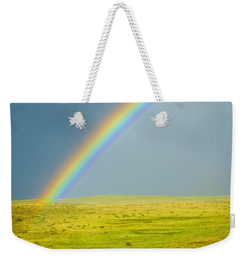 Colorado Weekender Tote Bag featuring the photograph Colorado Rainbow by Marilyn Hunt