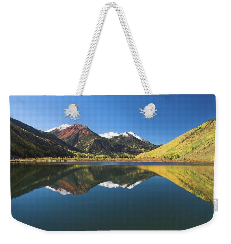 Colorado Weekender Tote Bag featuring the photograph Colorado Reflections by Steve Stuller