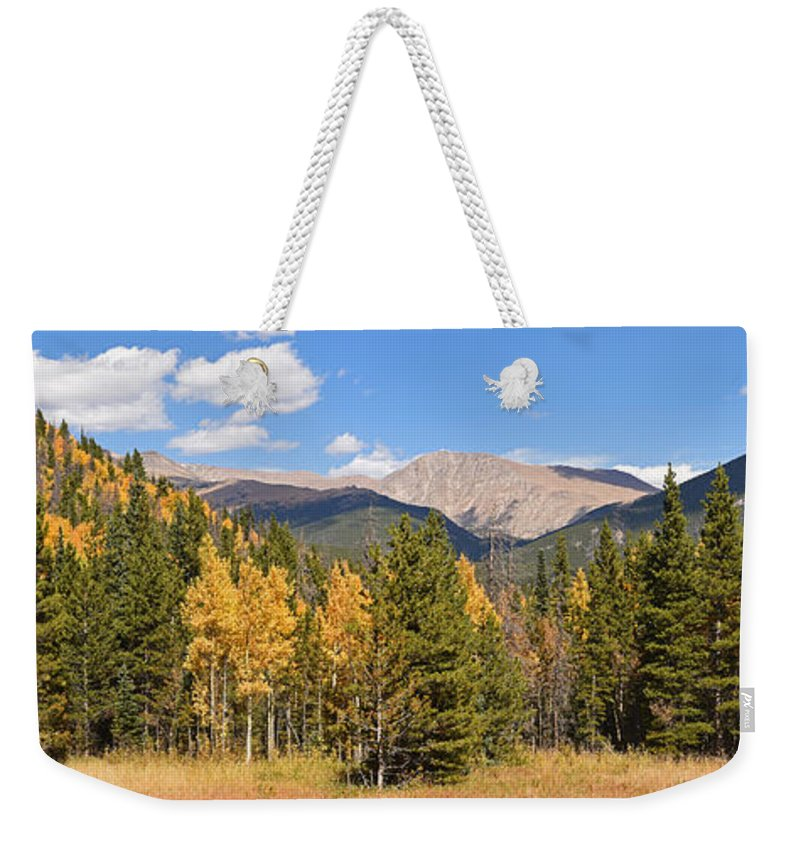 Colorado Weekender Tote Bag featuring the photograph Colorado Rockies National Park Fall Foliage Panorama by Toby McGuire