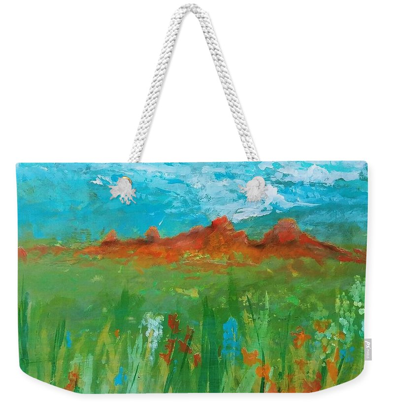 Colorado Weekender Tote Bag featuring the painting Colorado Spring by J Bauer