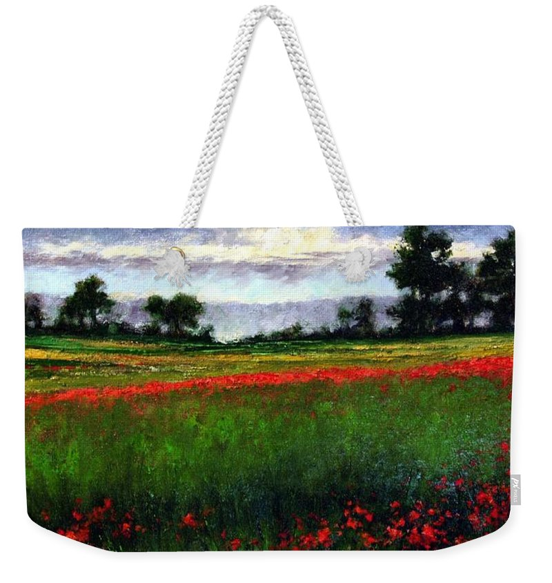 Landscape Weekender Tote Bag featuring the painting Colorburst by Jim Gola