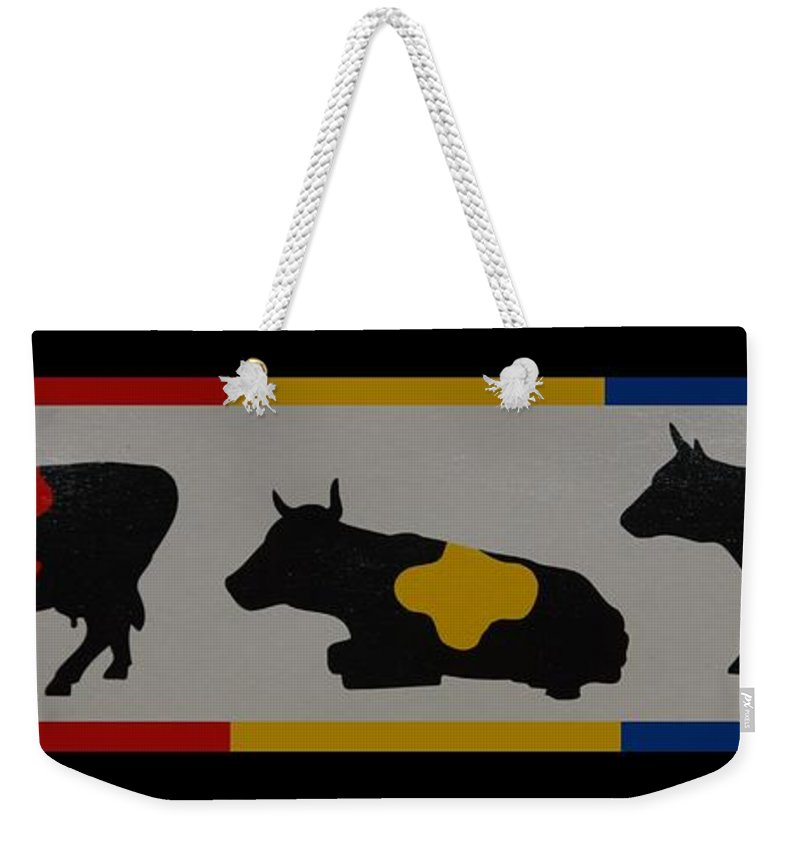 Cows Weekender Tote Bag featuring the photograph Colored Cows by Rob Hans
