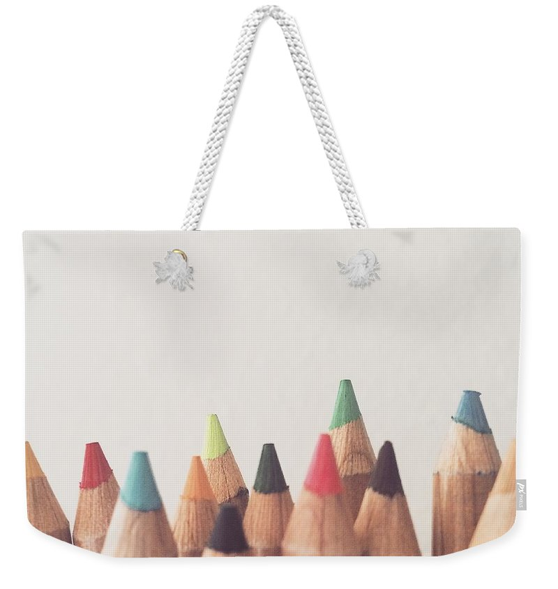 Colored Pencils Weekender Tote Bag featuring the photograph Colored Pencils by Cortney Herron