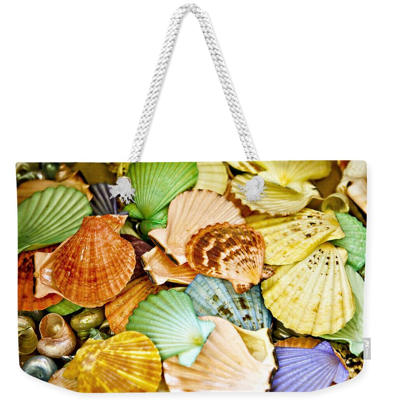 Shell Weekender Tote Bag featuring the photograph Colored Shells by Marilyn Hunt