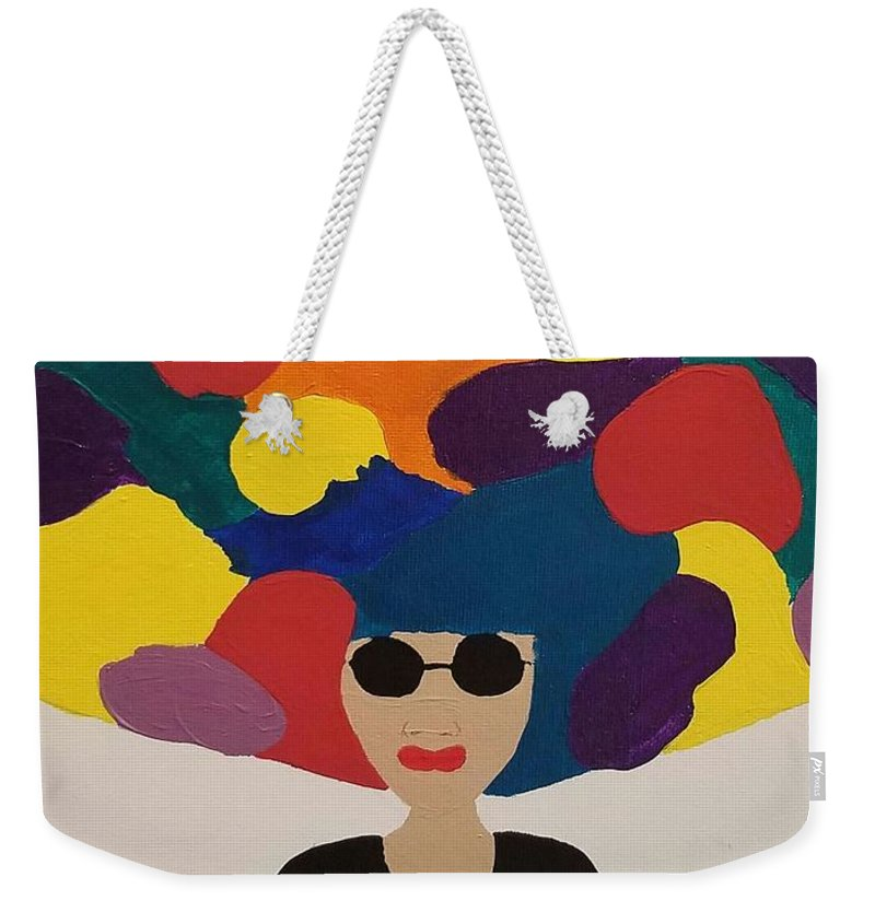 Black Woman Weekender Tote Bag featuring the painting Color Fro by Candice Henderson