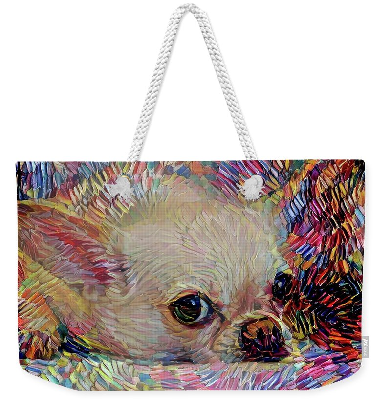 Chihuahua Weekender Tote Bag featuring the mixed media Colorful Abstract Chihuahua by Peggy Collins
