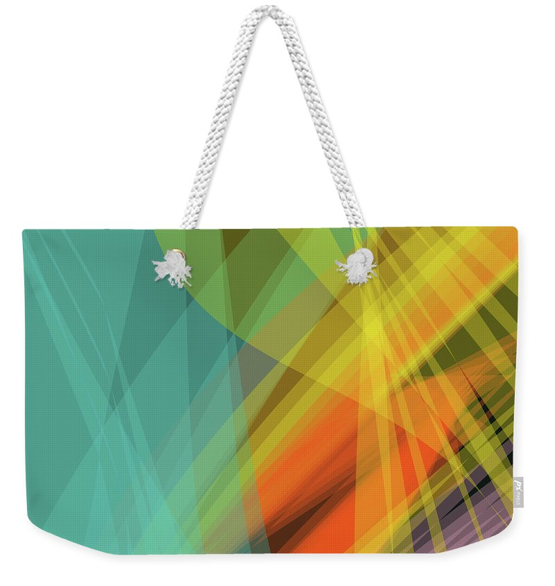 Wave Weekender Tote Bag featuring the digital art Colorful Abstract Vector Background Banner, Transparent Wave Lin by Svetlana Corghencea