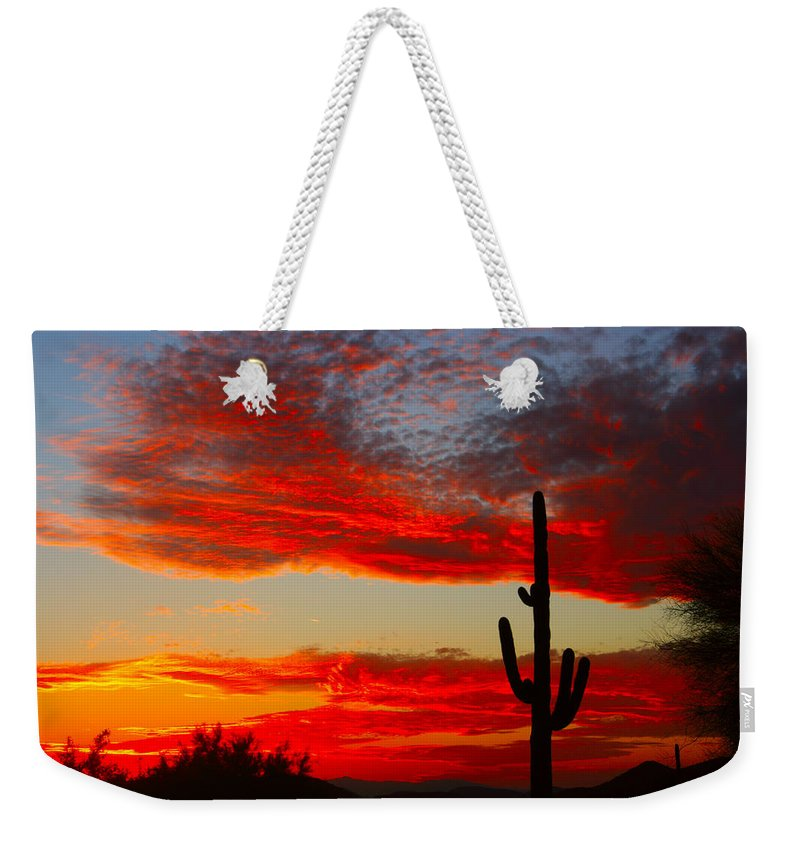 Sunsets Weekender Tote Bag featuring the photograph Colorful Arizona Sunset by James BO Insogna
