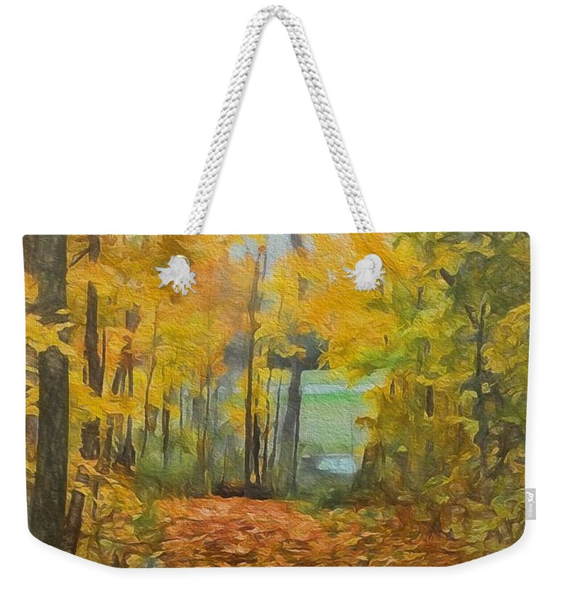 Colorful Autumn Trail Weekender Tote Bag featuring the painting Colorful Autumn Trail by Dan Sproul