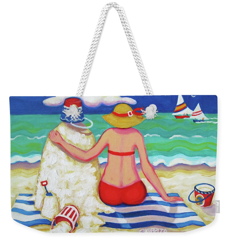 Colorful Beach Weekender Tote Bag featuring the painting Colorful Beach Woman Sandman by Rebecca Korpita