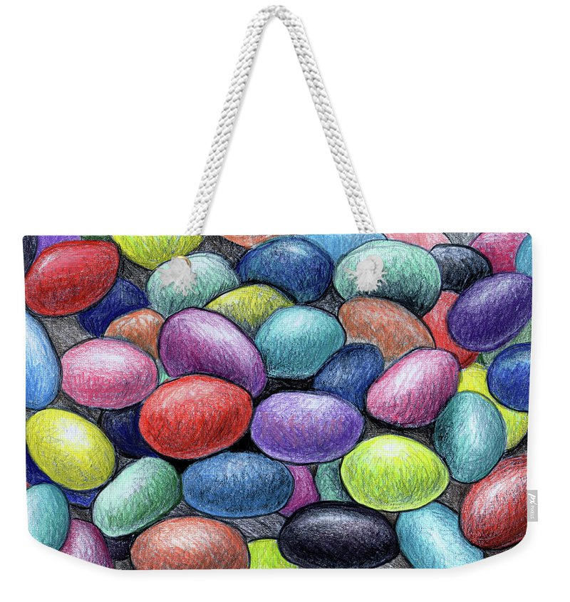 Jelly Beans Weekender Tote Bag featuring the drawing Colorful Beans by Nancy Mueller