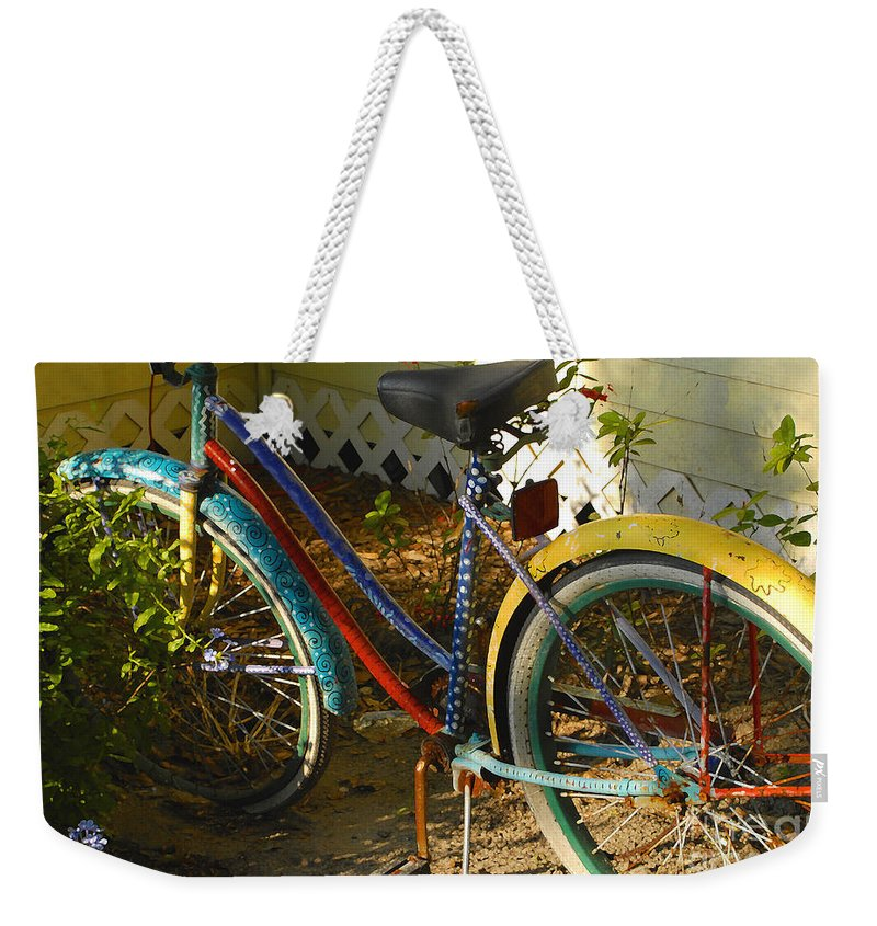 Bicycle Weekender Tote Bag featuring the photograph Colorful Bike by David Lee Thompson