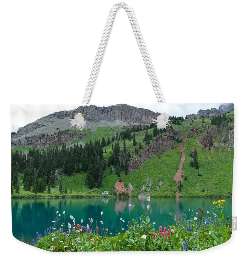 Blue Lake Weekender Tote Bag featuring the photograph Colorful Blue Lakes Landscape by Cascade Colors