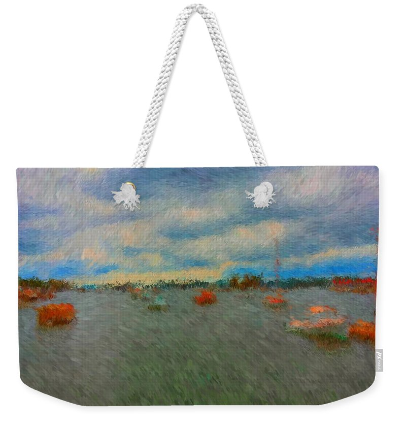 Colorful Boats On Cloudy Day At Boothbay Harbor Weekender Tote Bag featuring the painting Colorful Boats On Cloudy Day At Boothbay Harbor by Viktor Arsenov