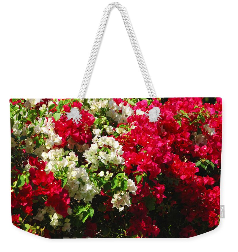 Bougainvilleas Weekender Tote Bag featuring the photograph Colorful Bougainvilleas by Susanne Van Hulst