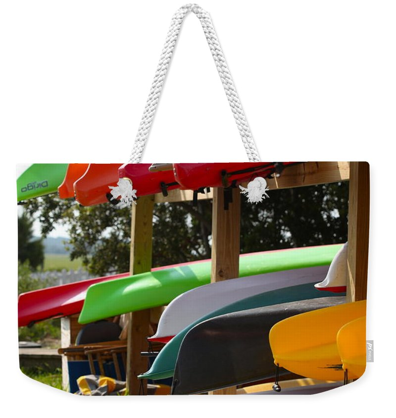 Canoes Weekender Tote Bag featuring the photograph Colorful Canoes by Nadine Rippelmeyer