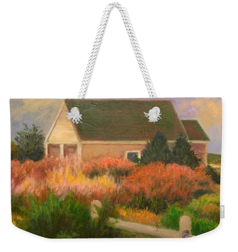 Cape Cod Weekender Tote Bag featuring the painting Colorful Cottage Cape Cod by Phyllis Tarlow