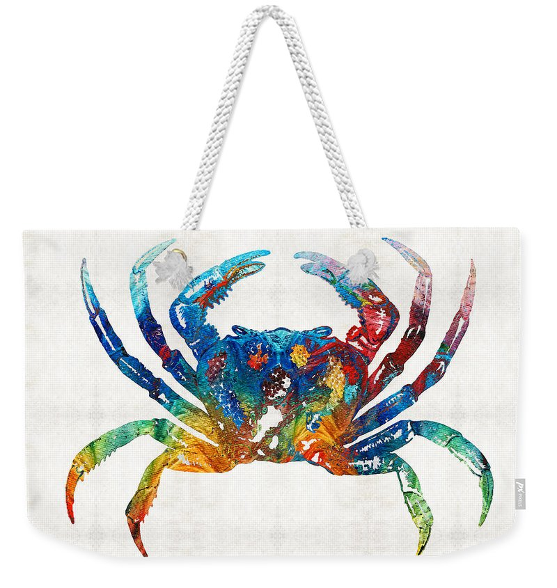Crab Weekender Tote Bag featuring the painting Colorful Crab Art By Sharon Cummings by Sharon Cummings