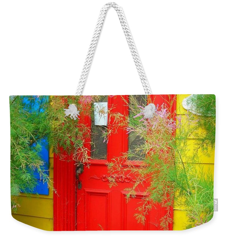Color Weekender Tote Bag featuring the photograph Colorful Entrance ... by Juergen Weiss