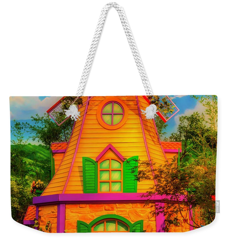 Garden Weekender Tote Bag featuring the photograph Colorful Fantasy Windmill by Garry Gay