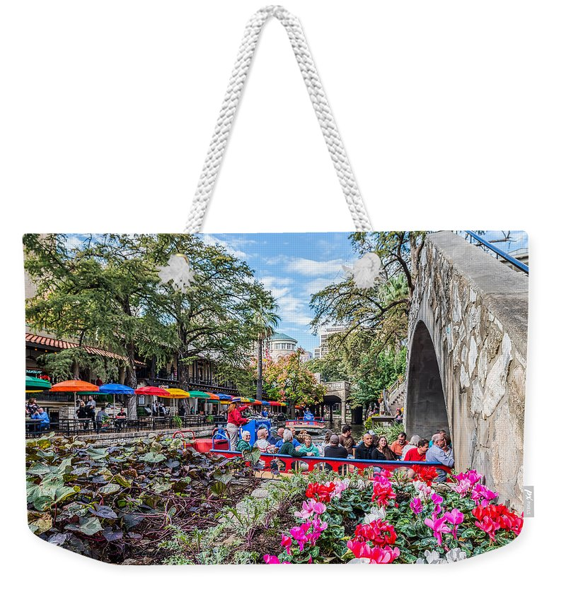 San Antonio Weekender Tote Bag featuring the digital art Colorful Festival Along River Walk by Tod and Cynthia Grubbs