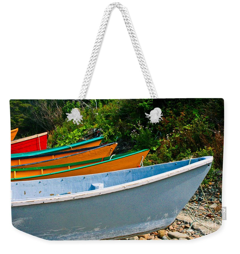 Fishing Weekender Tote Bag featuring the photograph Colorful Fishing Boats On A Rocky Shore Grand Manan by Thomas Marchessault