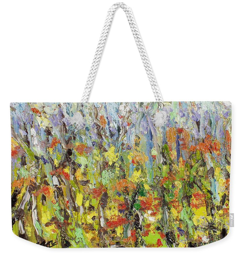 Autumn Abstract Paintings Weekender Tote Bag featuring the painting Colorful Forest by Seon-Jeong Kim