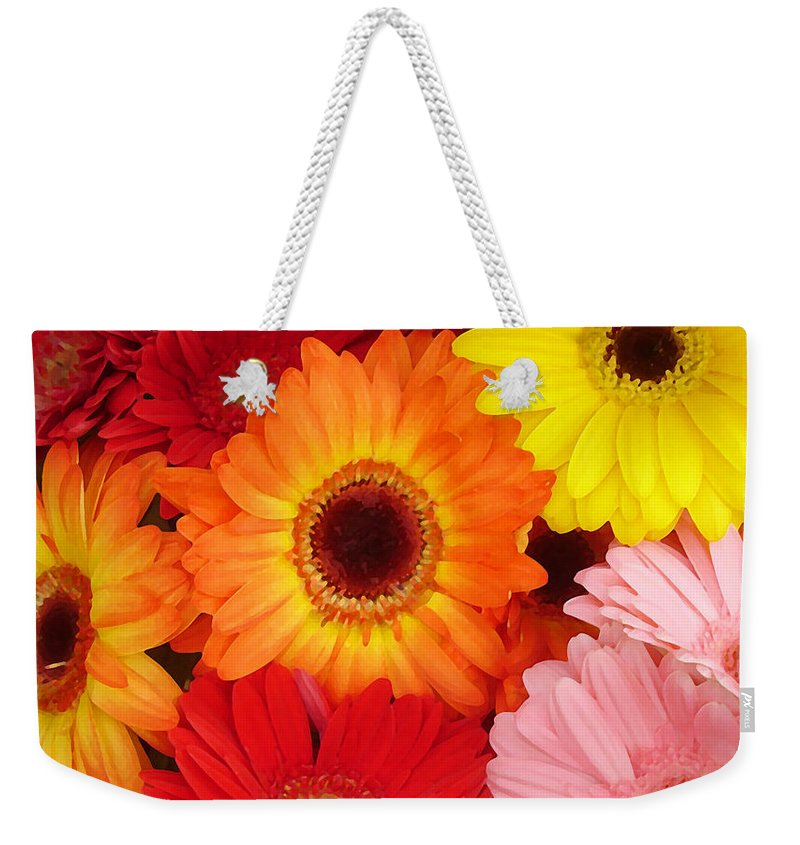 Gerber Daisy Weekender Tote Bag featuring the painting Colorful Gerber Daisies by Amy Vangsgard