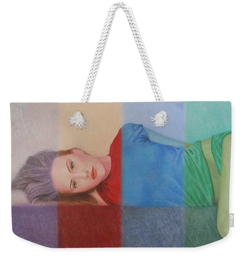 Woman Weekender Tote Bag featuring the painting Colorful Girl by Lynet McDonald
