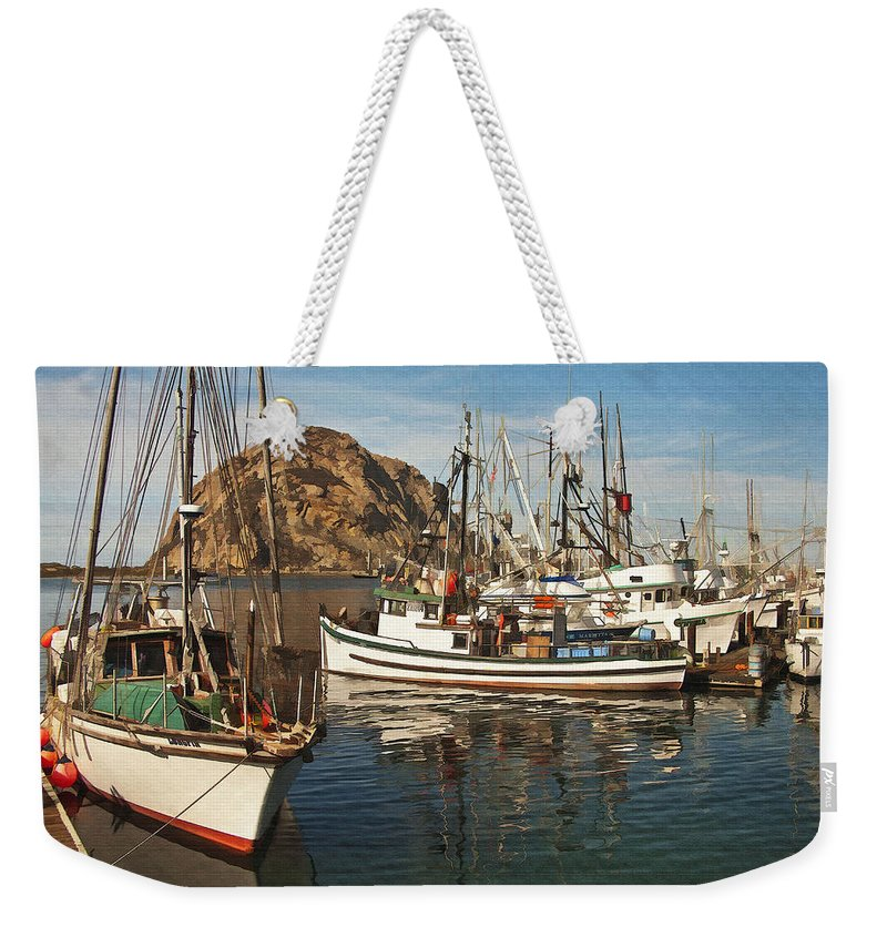 Morro Bay Weekender Tote Bag featuring the digital art Colorful Harbor by Sharon Foster