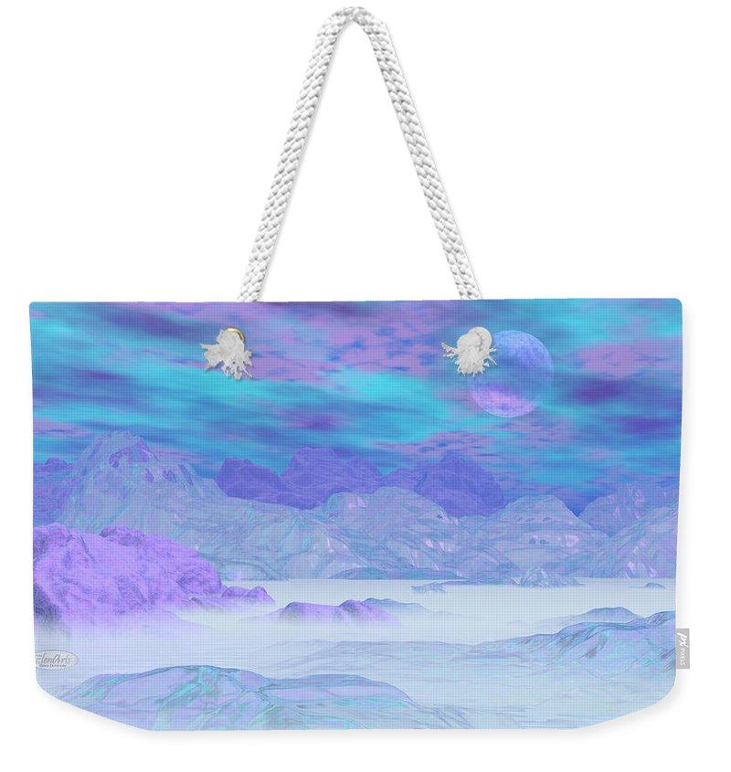 Alaska Weekender Tote Bag featuring the digital art Colorful Icebergs - 3d Render by Elenarts - Elena Duvernay Digital Art