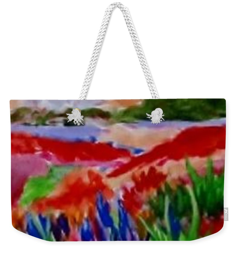 Red Weekender Tote Bag featuring the painting Colorful by Jamie Frier