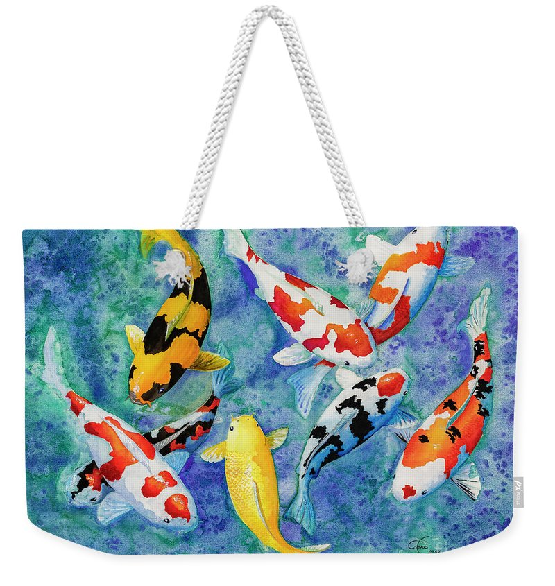 Koi Weekender Tote Bag featuring the painting Colorful Koi by Corrado Ghioldi