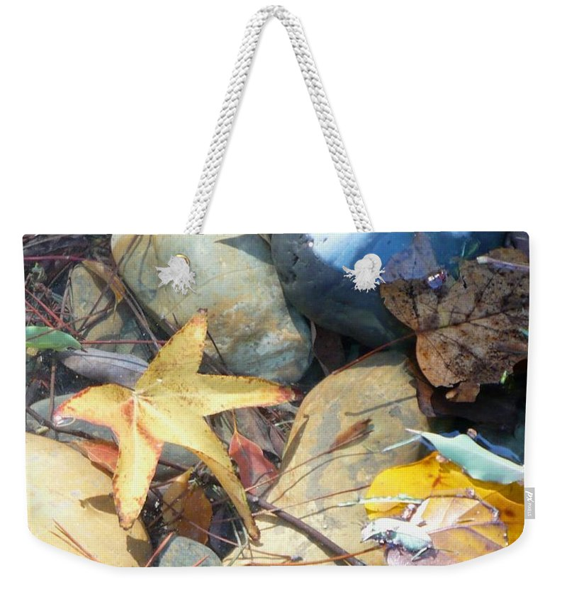 Leaves Weekender Tote Bag featuring the photograph Colorful Leaves And Rocks In Creek by Carol Groenen