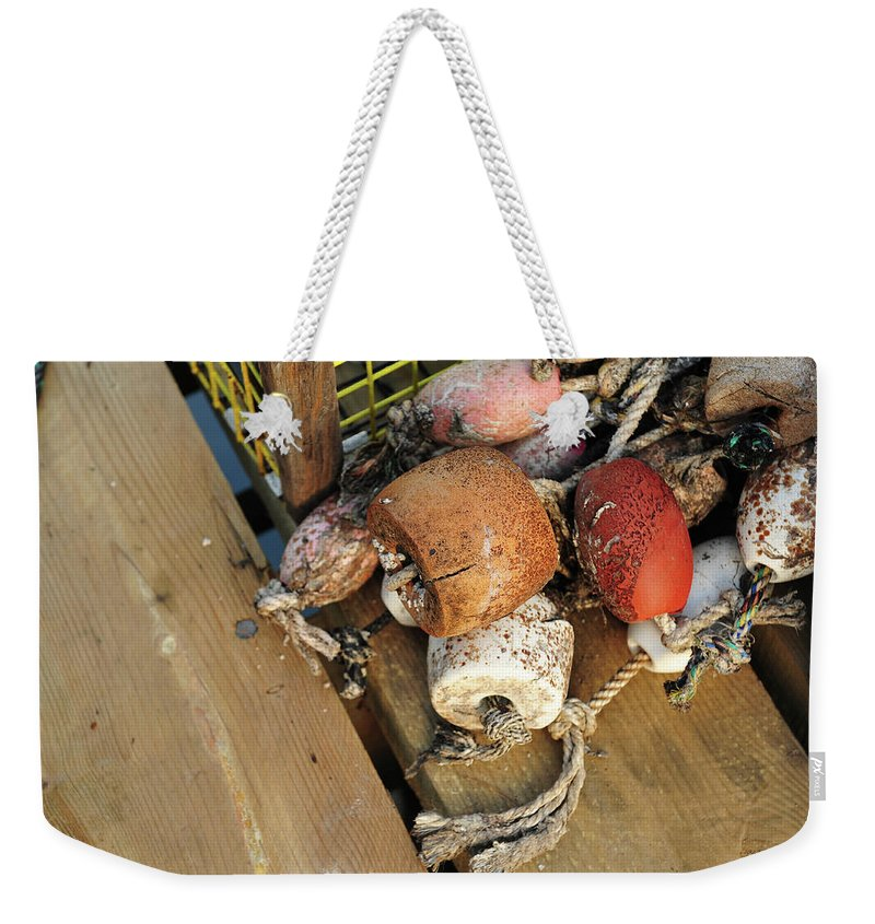 Horizontal Image Weekender Tote Bag featuring the photograph Colorful Marker Buoys by Jorge Moro