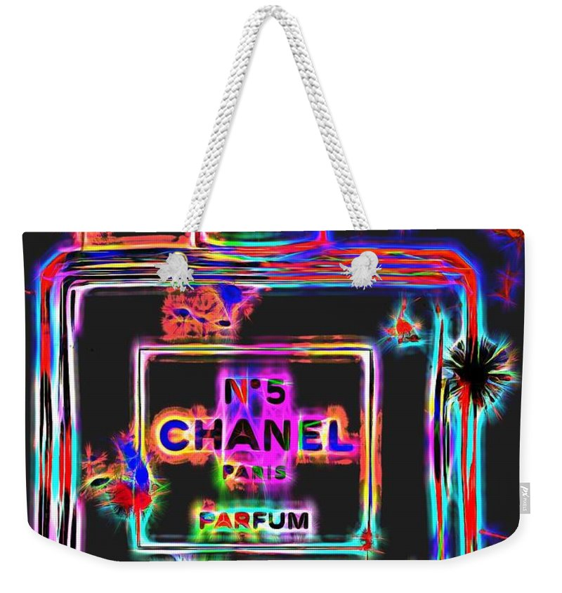 ec1373d3e05 Neon Chanel Number Five Weekender Tote Bag featuring the digital art  Colorful Neon Chanel Five by