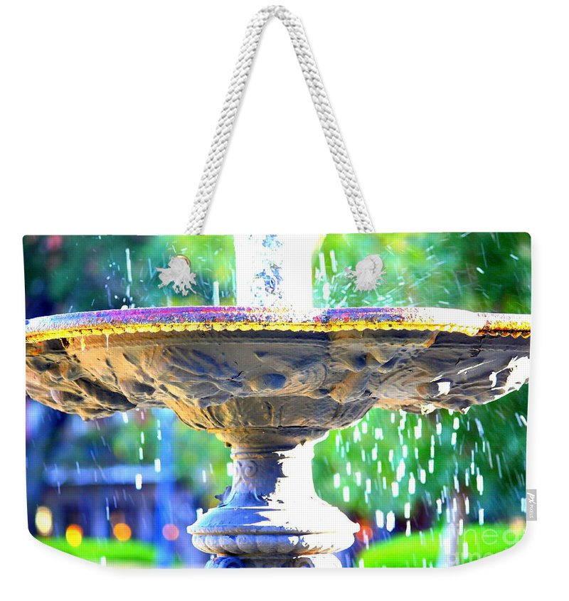 New Orleans Weekender Tote Bag featuring the photograph Colorful New Orleans Fountain by Carol Groenen