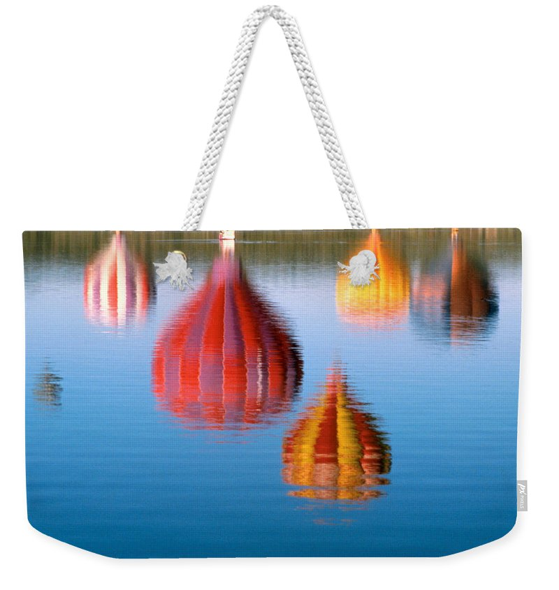 Hot Air Balloons Weekender Tote Bag featuring the photograph Colorful Reflections by Jerry McElroy