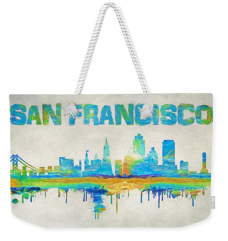 colorful san francisco skyline silhouette weekender tote bag for