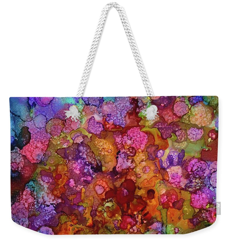 Painting Weekender Tote Bag featuring the painting Colorful Spring Garden by Lilia D