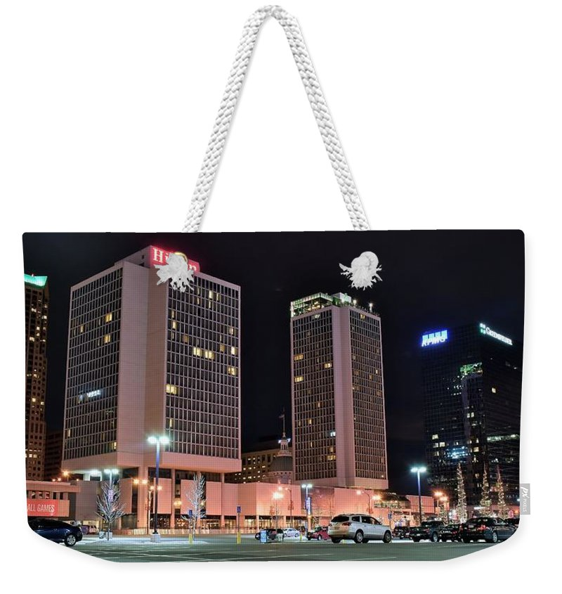 St.louis Weekender Tote Bag featuring the photograph Colorful St Louis Night by Frozen in Time Fine Art Photography