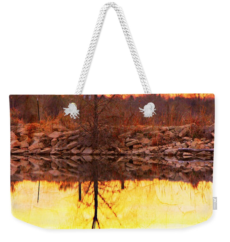Bouldercountybook; Boulder County; Lake; Nature Photography Fine Art Photography; Textured Print; Landscape Photography; Landscape Art; Sunrise; Reflections; Abstracts; Sunset; Colorful; Cracks; Photo Galleries; Canvas Prints; Stock Photo; Photo Prin Weekender Tote Bag featuring the photograph Colorful Sunrise Textured Reflections by James BO Insogna