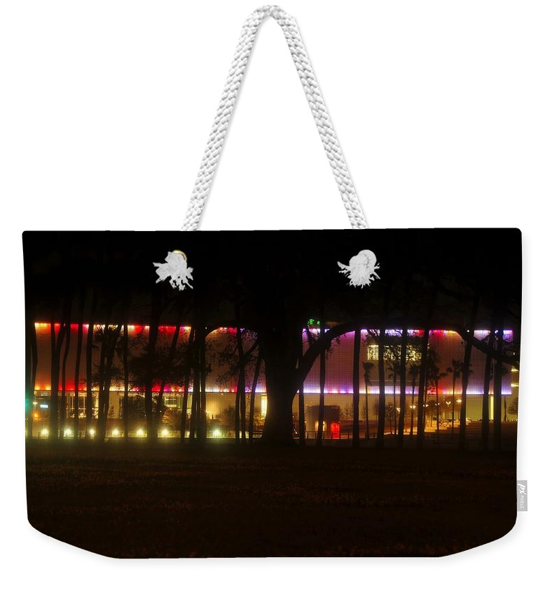 Tampa Bay Florida Weekender Tote Bag featuring the photograph Colorful Tampa Bay Night by David Lee Thompson