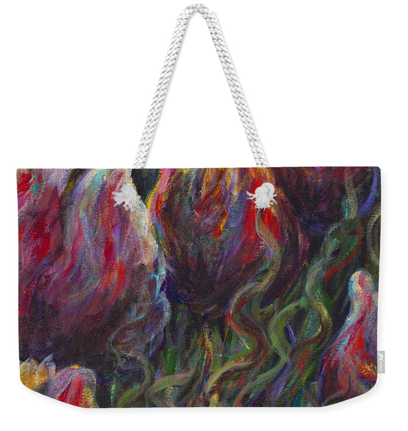 Tulips Weekender Tote Bag featuring the painting Colorful Tulips by Nadine Rippelmeyer