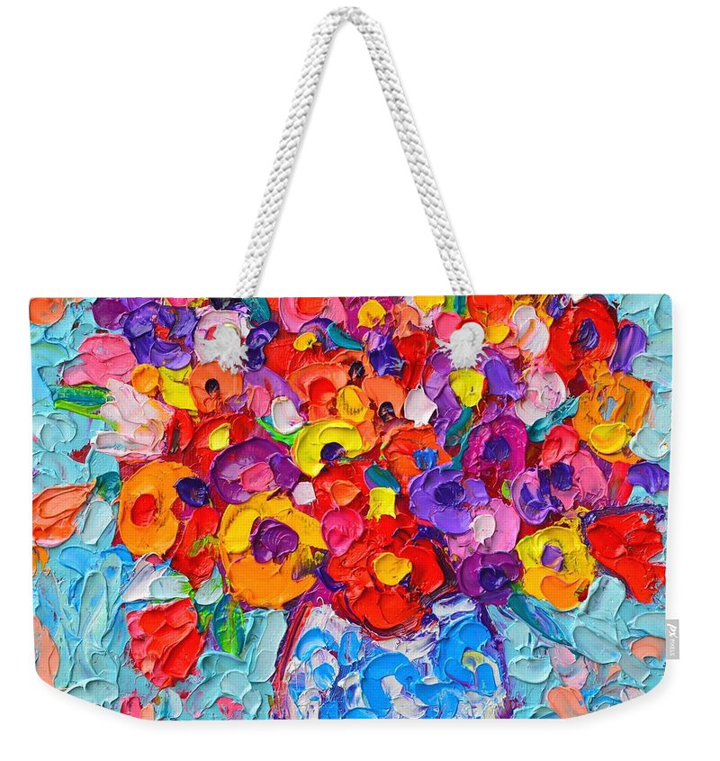 Abstract Weekender Tote Bag featuring the painting Colorful Wildflowers - Abstract Floral Art By Ana Maria Edulescu by Ana Maria Edulescu