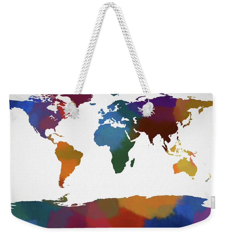 World Map In Color Weekender Tote Bag featuring the painting Colorful World Map by Dan Sproul