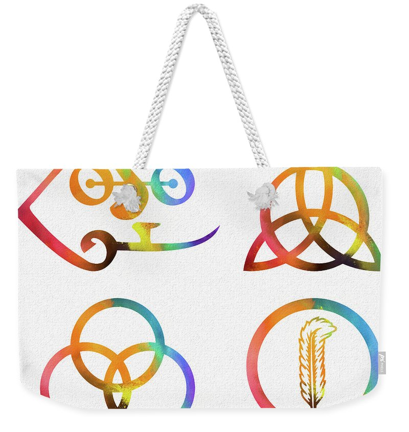 Colorful Zoso Symbols Weekender Tote Bag featuring the mixed media Colorful Zoso Symbols by Dan Sproul