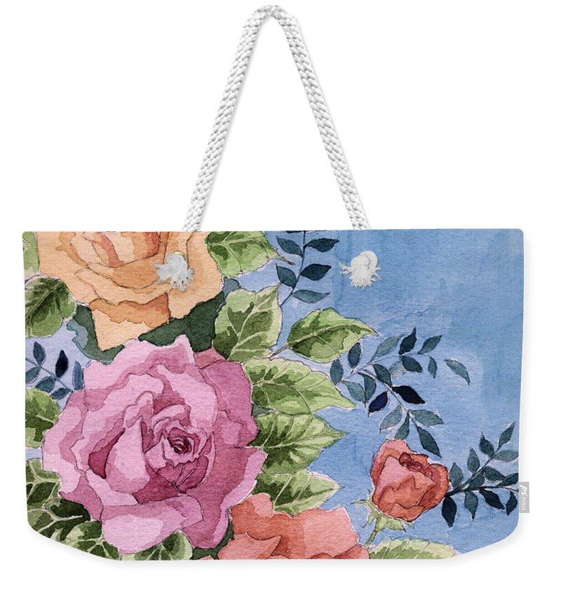 Roses Weekender Tote Bag featuring the painting Colorfull Roses by Alban Dizdari