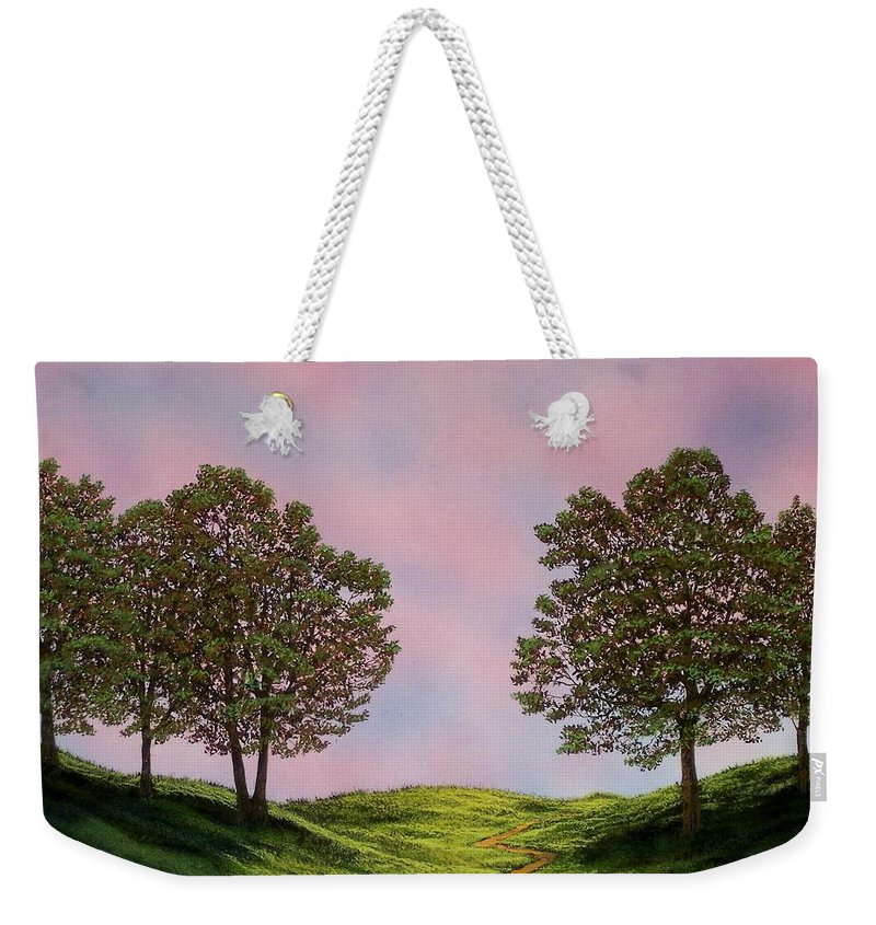 Landscape Weekender Tote Bag featuring the painting Colors Of Dawn by Frank Wilson